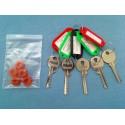 Popular bump key set, 5 keys (+ 5 dampeners)