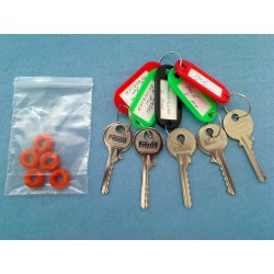 Popular bump key set, 5 keys (+ 5 dampeners)