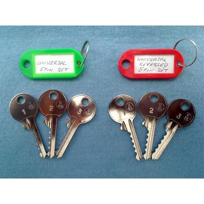Both sets of 5 pin universal bump keys (6 keys)