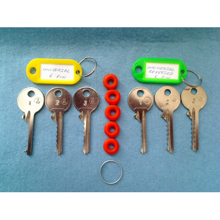 Full set of 6 pin universal bump keys (6 keys, 5 dampeners)