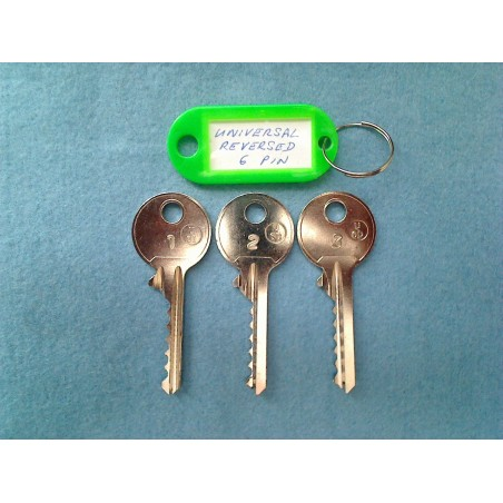 Reversed universal 6 pin bump key set (3 x left keys)